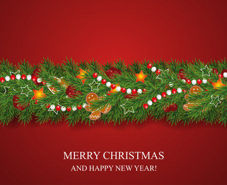 Christmas and happy New Year garland and border of realistic looking Christmas tree branches decorated with Berries, stars and Gingerbread cookies, beads. Holiday decoration on red background. Vecto
