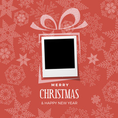 Christmas and winter background with photo, blank frame. Vector template with picture to insert