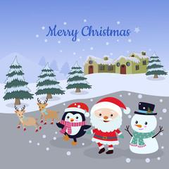 Christmas card santa claus, snowman, penguin and deer in winter
