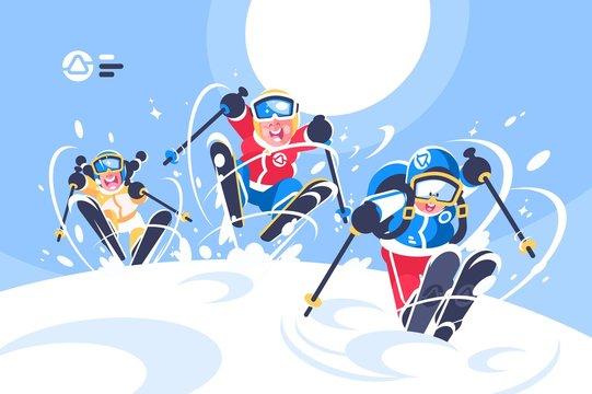 Happy children skiing flat poster