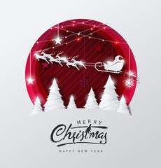 Merry christmas and happy new year background Decorated with Santa Claus and deer landscape paper cut style.Glowing lights Vector Illustration.