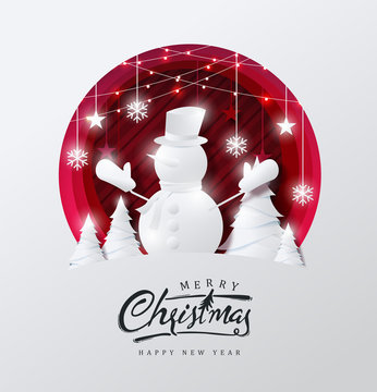 Merry christmas and happy new year background Decorated with snowman in forest and star paper cut style.Glowing lights Vector Illustration.