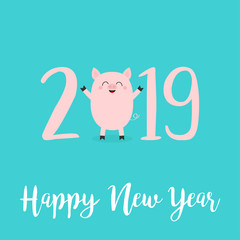 Happy New Year 2019 pink text. Cute baby pig. Piggy piglet. Chinise symbol. Cartoon funny kawaii smiling character. Flat design. Blue background. Isolated.