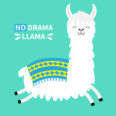 Llama alpaca running jumping. No drama. Cute cartoon funny kawaii smiling character. Childish baby collection. T-shirt, greeting card, poster template print. Flat design. Green background.