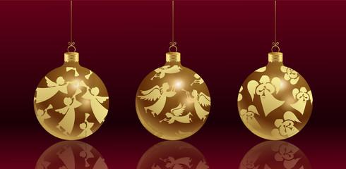 Christmas glass balls with a pattern of golden angels with a mirror reflection. Vector set. Realistic image on red background.