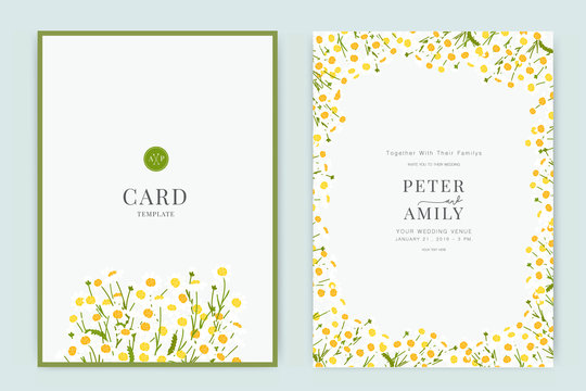 Wedding Invitation, floral invite thank you, rsvp modern card Design in white flower  with leaf branches decorative Vector elegant rustic template