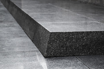 Black granite stairs, abstract architecture
