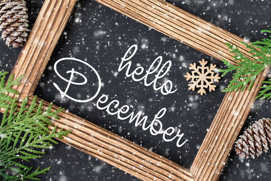 HELLO DECEMBER lettering card. Christmas New Year background