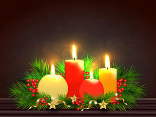 Illuminated realistic candles with pine leaves and holly berries on glossy brown background for festival greeting card design.
