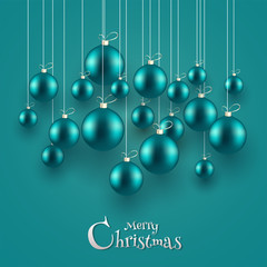 Realistic baubles hang on glossy color background for Merry Christmas celebration greeting card design.