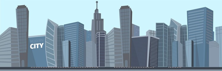 Vector drawing image of the modern city landscape