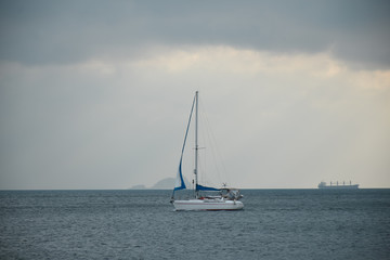 sail inflatable boat on a cloudy day