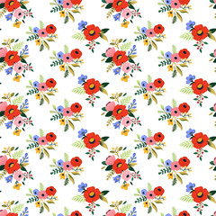 Seamless tropical flower pattern. Colorful vintage floral background. Flower graphic set with bouquet of rose, rafflesia, leaves, herbs and other hand drawn botanical elements. Vector