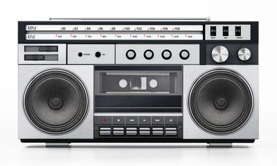 Vintage cassette player isolated on white background. 3D illustration