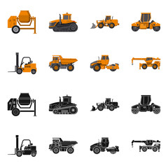 Vector design of build and construction sign. Set of build and machinery stock symbol for web.