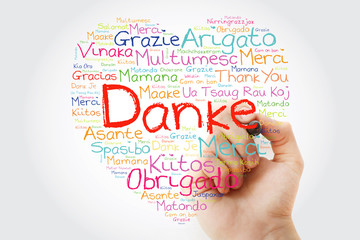Danke (Thank You in German) Love Heart Word Cloud in different languages with marker