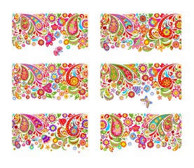 Seamless ethnic flowers borders collection