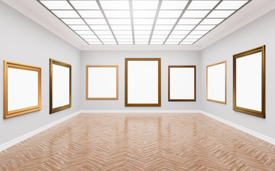3d rendering illustration of classical gallery. Fine art museum. White blank canvases in gorgeus golden frames. Poster, artwork, paint mock up, template. Bright sunny room with light illuminating
