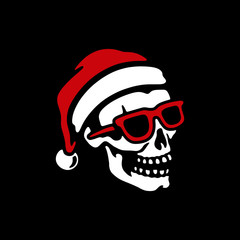 SKULL IN SANTA HAT AND SUNGLASSES WITH ROCK SIGN BLACK BACKGROUND