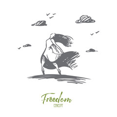 Happiness and freedom concept. Hand drawn isolated vector.