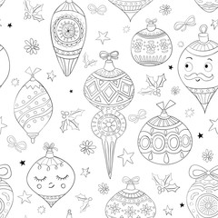 Seamless Christmas pattern. Festive background with holiday elements. Adult coloring book design. Black and white pattern for Christmas coloring page. Vector illustration