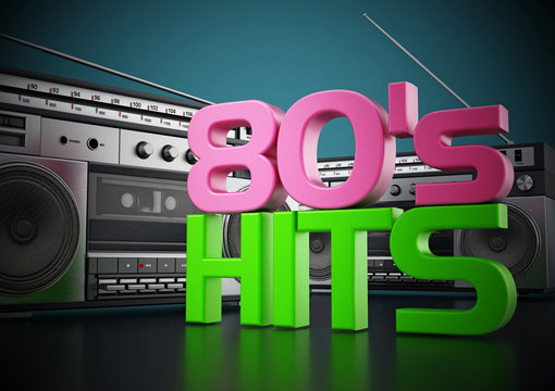 Vintage cassette player and 80's hits text. 3D illustration