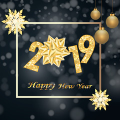 Happy New Year 2019 winter holiday greeting card design template. Party poster, banner or invitation gold glittering stars confetti glitter decoration. Vector background with golden gift bow
