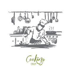 Cooking, chef, food, meal concept. Hand drawn isolated vector.