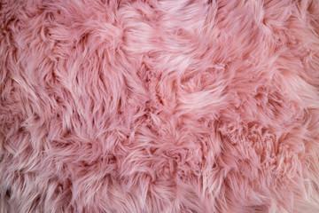 Pink sheepskin background. Fur pattern. Wool texture. Sheep fur close up
