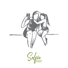 Selfie, mother, daughter, happy concept. Hand drawn isolated vector.