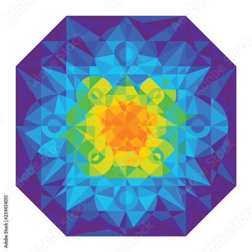 Winter Geometric Mosaic Abstract Background Of Polygons Like