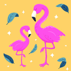 Vector flamingo couple illustration with leaves and stars on yellow background. Tropical birds, summer style design