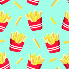 French fries seamless pattern. Vector illustration