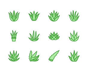 Aloe vera flat line icons. Succulent, tropical plant vector illustrations, thin signs for organic food, cosmetic. Pixel perfect 64x64. Editable Strokes.