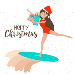Merry Christmas card with relaxing girl on the beach, rides on the surf. Editable vector illustration