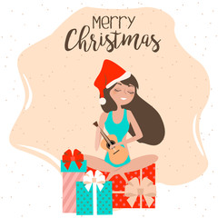 Merry Christmas card with relaxing girl on the beach, playing the ukulele. Editable vector illustration