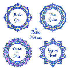 Set of ornamental boho frames. Hand drawn ethnic ornament on white background. Henna tattoo design. Round pattern. Floral mehndi collection. Arabic, indian, african, asian motif. Vector illustration