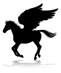 A Pegasus silhouette mythological winged horse graphic