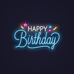 Happy birthday neon sign. Birthday neon banner on wall background