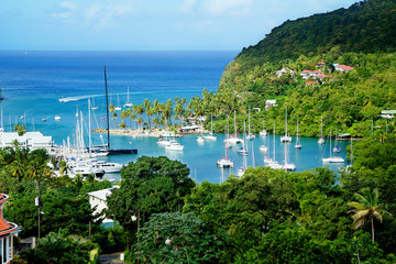 Saint Lucia, Caribbean, Yacht club. Saint Lucia is considered to be the most beautiful island in the Caribbean sea.