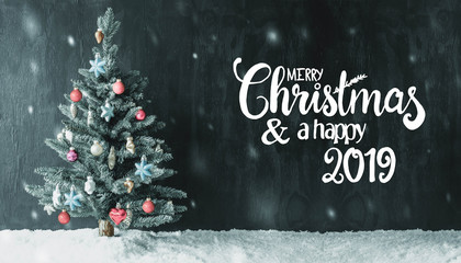 Colorful Decorated Tree, Calligraphy Merry Christmas And Happy 2019, Snowflakes
