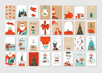 Hand drawn vector abstract fun Merry Christmas time cartoon illustrations greeting cards and backgrounds big collection set with gift boxes,people and Christmas tree isolated on white background