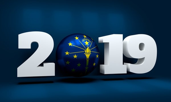 2019 Happy New Year Background for seasonal greetings card or Christmas themed invitations. Flag of the Indiana state. 3D rendering