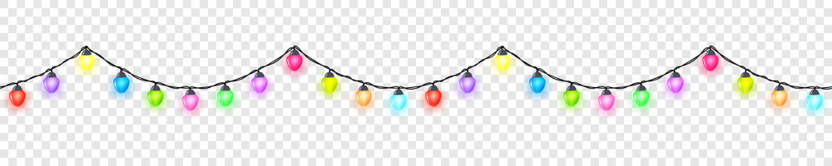 Seamless festive bright colored glowing garland without background , Christmas decorations