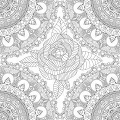 Vector seamless mandala pattern. Mandala design with flowers, leaves, waves, geometric elements and hand drawn rose. Repeating ethnic print. Black mandala, oriental motives. Mandala coloring page