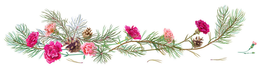 Horizontal border with pine branches, cones, red carnations schabaud on white background, hand digital draw, watercolor style, decorative botanical illustration for design, Christmas tree, vector