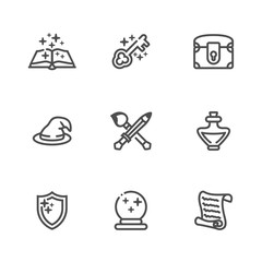 Collection of fantasy thin outline icons for game developers. Vector icon set with rounded breaks in thin lines