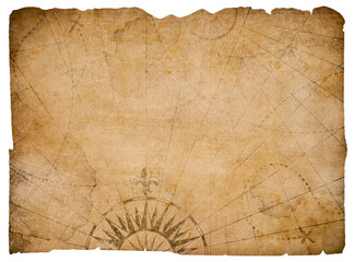Wall Mural - old medieval nautical map isolated with clipping path included
