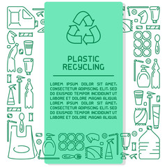 Plastic waste information banner. Line style vector illustration. There is place for your text