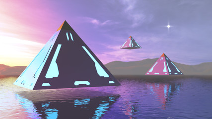 3D rendering abstract fantasy pyramids above water